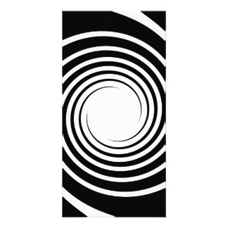 Black and White Spiral Design. Custom Photo Card
