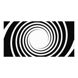Black and White Spiral Design Personalized Photo Card