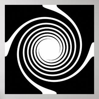 Black and White Spiral Design. Poster