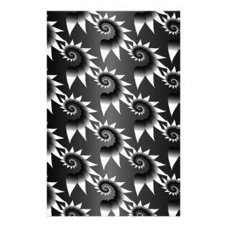 Black and White Spiral Pattern Custom Stationery