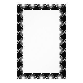 Black and White Spirals Pattern Custom Stationery
