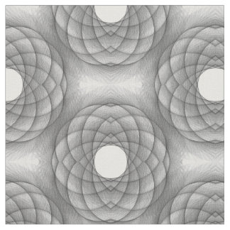 Black and White Spirograph Combed Cotton Fabric
