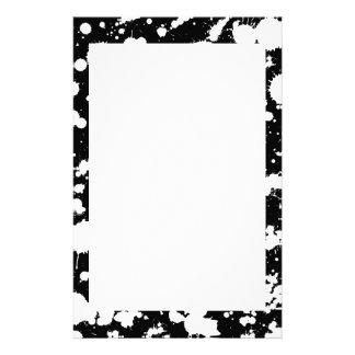 Black and White Splatter Paint Art Customized Stationery
