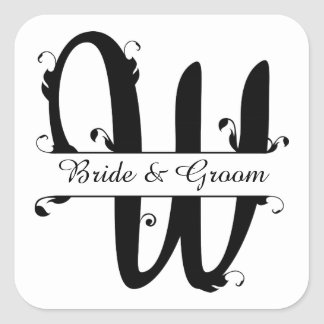 Black and White Split Letter W Monogram Square Sticker