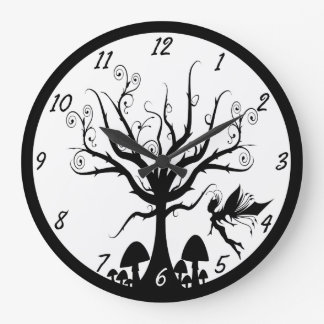 Black and White Spooky Fairy Clock