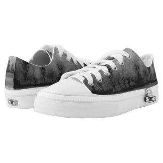 black and white spooky woodland landscape design printed shoes