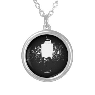 Black and White Spray Paint Can Splatter Art Silver Plated Necklace