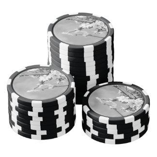 Black and White Spring Cherry trees Poker Chips