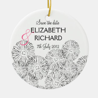 """Black and white spring flowers """"Save the date"""" Ceramic Ornament"""