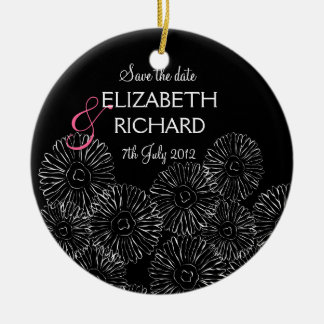 """Black and white spring flowers """"Save the date"""" Christmas Ornaments"""