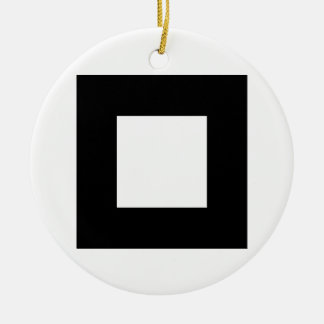 Black and White Square Design Christmas Tree Ornament