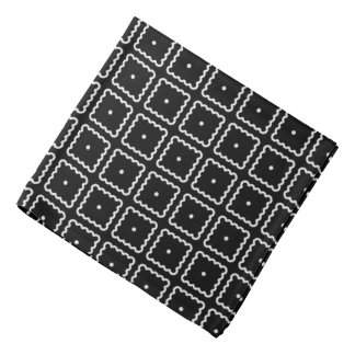 Black and White Square Dot Pattern Bandana