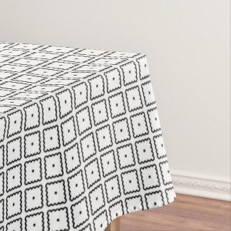 Black and White Square Dot Pattern Tablecloth