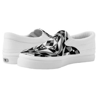 Black and White Square Pattern Slip-On Shoes
