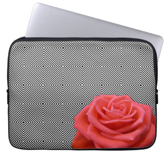Black and White Squares and Pink Rose Laptop Sleeve
