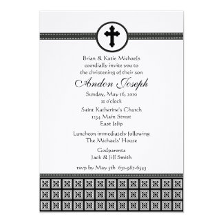 Black and White Squares Cross Invitation