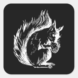 Black and White Squirrel Design Square Sticker