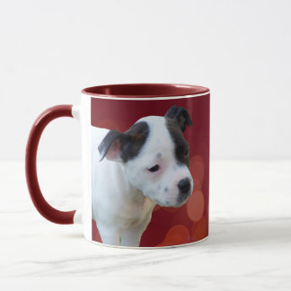 Black And White Staffordshire Bull Terrier Puppy, Mug