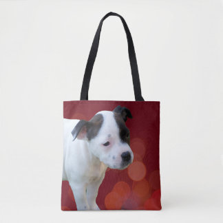 Black And White Staffordshire Bull Terrier Puppy, Tote Bag