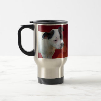 Black And White Staffordshire Bull Terrier Puppy, Travel Mug