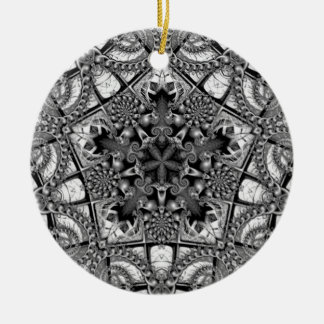 Black and White Star in a Pentagon Ornament