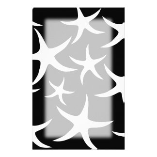 Black and White Starfish Pattern. Stationery Paper