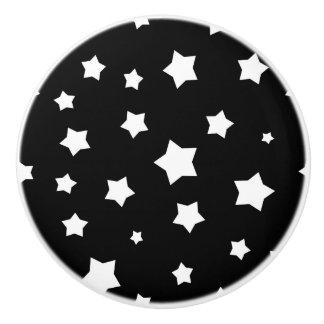 Black and white stars pattern ceramic knob