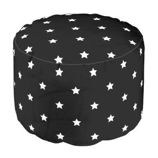 Black And White Stars Pattern Pouf