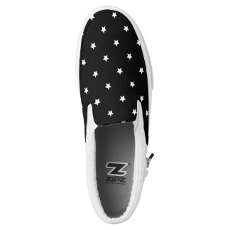 Black And White Stars Pattern Slip-On Shoes