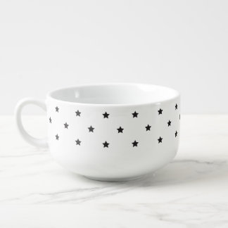 Black And White Stars Pattern Soup Mug