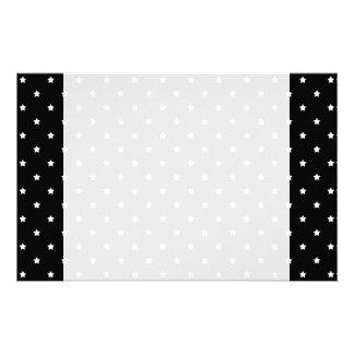 Black and White Stars Pattern. Customized Stationery