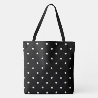 Black And White Stars Pattern Tote Bag