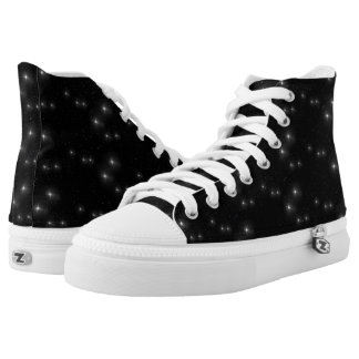 Black and White Stars Starry Night Galaxy Universe High Tops