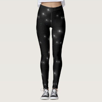 Black and White Stars Starry Night Galaxy Universe Leggings