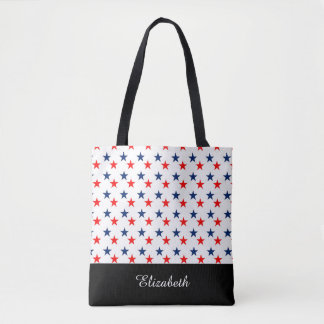 Black and White Stars with Monogram Tote Bag