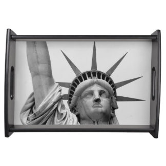 Black and White Statue of Liberty Serving Tray