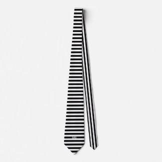 Black and White Stipe Print Tie