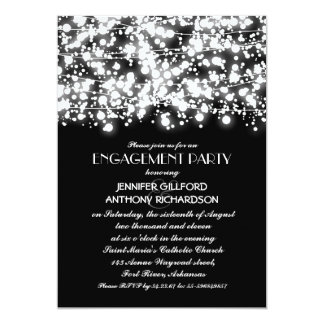 black and white string lights engagement party 13 cm x 18 cm invitation card