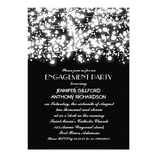 black and white string lights engagement party custom announcements