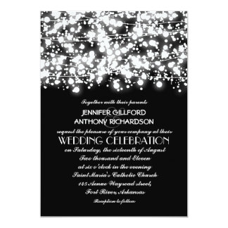 "black and white string lights wedding invitations 5"" x 7"" invitation card"