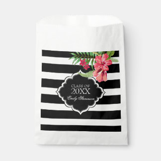 Black And White Stripe And Pink Flowers Favour Bag