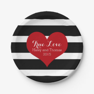 Black and White Stripe Bridal Shower Plates