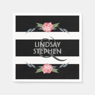 Black and White Stripe Elegant Pink Floral Wedding Disposable Serviettes