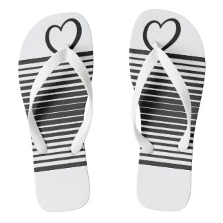 Black and white stripe flip-flop thongs