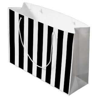 Black and White Stripe Large Gift Bag
