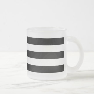 Black and White Stripe Pattern Frosted Glass Coffee Mug