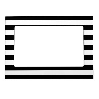 Black and White Stripe Pattern Magnetic Picture Frame