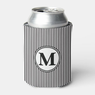 Black and White Stripe Pattern Monogram Can Cooler