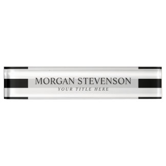 Black and White Stripe Pattern Nameplate