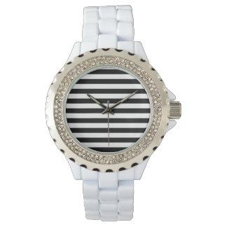 Black and White Stripe Pattern Watch
